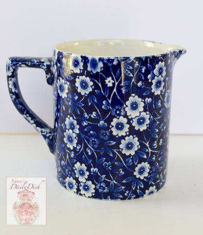 Vintage Blue Floral Chintz Calico English Transferware 14 oz Measuring Pitcher