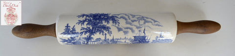 Rare! Blue English Transferware Rolling Pin Nautical Ship Scene Wood Handles