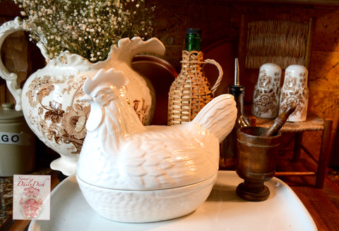 Vintage Price Kensington White English Ironstone Nesting Hen Lidded Egg Basket Tureen