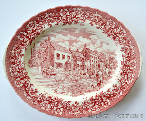 Vintage Red Tab Handled Transferware Platter with Cattle Sheep  Dogs Horses