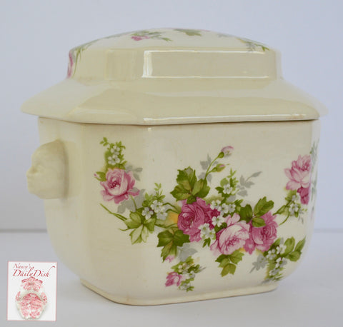 Country French Pink Roses English Ironstone Tea Caddy w/ Figural Face Shaped Handles Lidded Jar