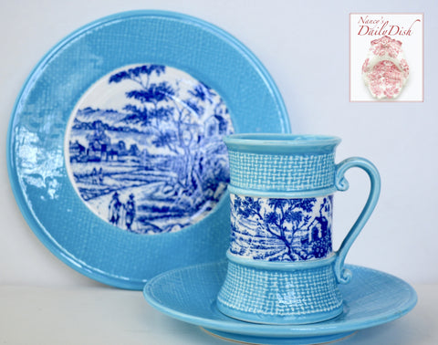 3 pc Set Dessert Plate Coffee Cup Saucer Vintage Blue Transferware & Turquoise