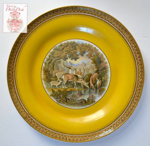 Antique Bucolic Herd of Deer Fawn Stag Scene Prattware Brown Transferware Plate  Mustard Yellow Border