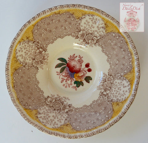 Taupe Brown & Butter Yellow Two Color Transferware Saucer Plate Royal Doulton Pink Purple Tulips Roses Flowers