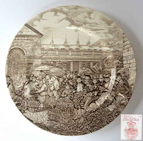 "10"" Brown Transferware  Ironstone Plate 19C Outdoor Farmers Market Scene Covent Garden"