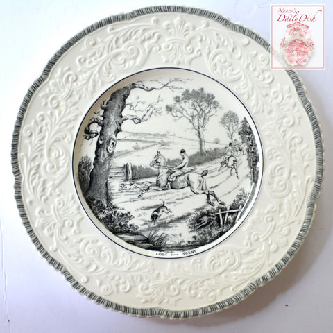 "Black Transferware Charger Tray English Hunting Scene ""Lost The Scent"" Embossed Border"