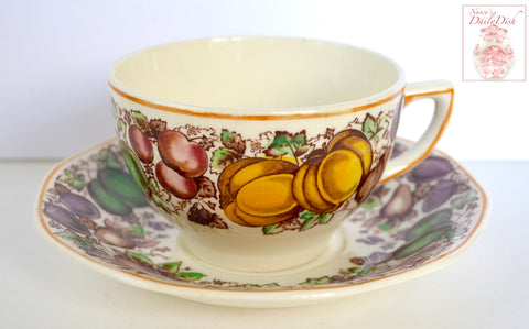 Antique English Staffordshire China Teacup & Saucer Barker Brothers Thanksgiving Autumn Fruits Pumpkins Brown Transferware
