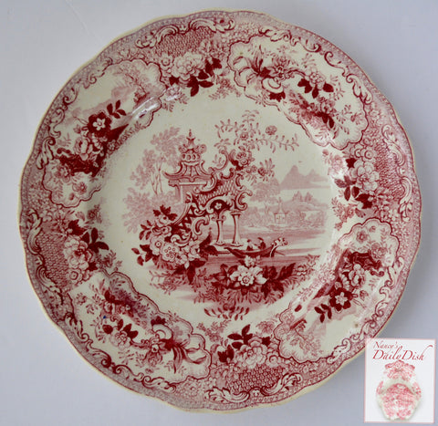Antique Staffordshire Plate 19th Century Red Transferware Plate Sicilian Gondola Lace & Floral Border