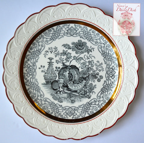 Stunning Antique Wedgwood Black Transferware Plate Wine Fruit Still Life Creamware Embossed Border