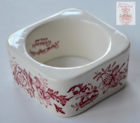 Red Transferware Napkin Ring Tonquin Flowers Roses  Hard to Find