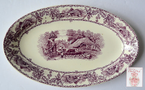 Purple Transferware Small Oval Tray Platter  Rural Scenes Girl Bee Skep RARE