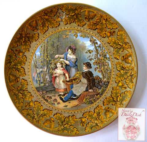English Victorian RARE 1851 Prattware Transferware Hops Queen Plate Oak Leaf Acorn Border