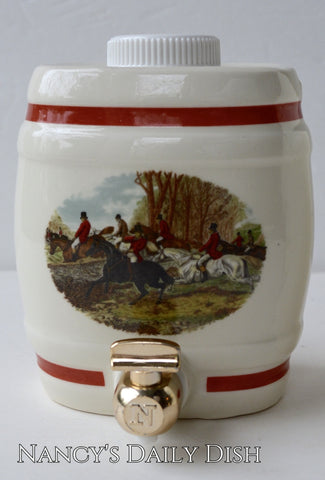 Vintage English Equestrian Hunt Scene Decanter / Liquor Bottle for Lamp / Decor sm