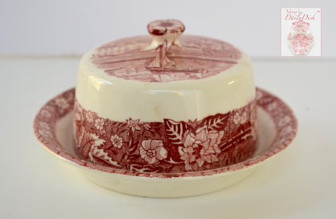 Thames River Scenes Pink Red Transferware Round Covered Butter Dish  Flowers  Sail Boat Eton College