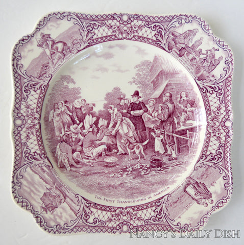 Aubergine Purple Square Transferware Plate The First Thanksgiving In America Colonial Times Historical Staffordshire