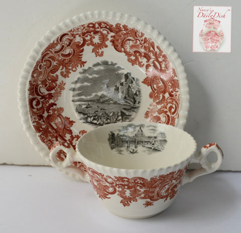 Bi Color Transferware Handled Soup Cup & Plate Rust Red & Black Spode Copeland Beverley European Scenery