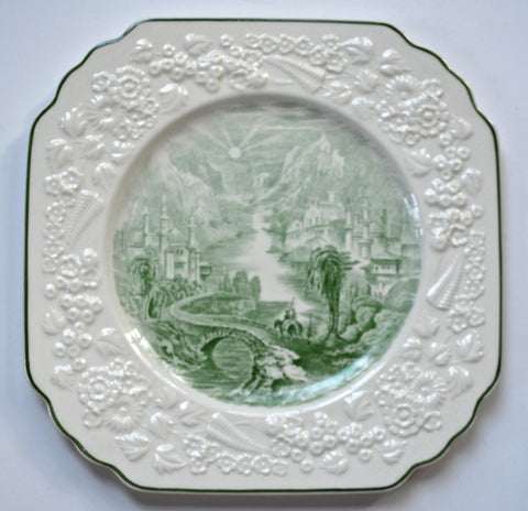 1891 Antique Staffordshire English Transferware Green Plate Square Octagon Floral Relief Border George Jones  Path Through Mountain Village