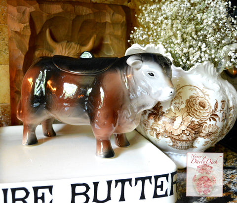 Country French Hereford Bull / Cow Cookie Jar Figurine Vintage Style