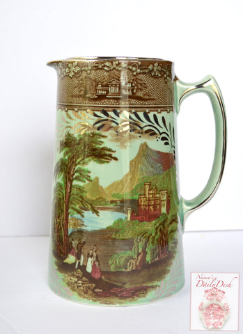 VERY Rare Royal Staffordshire Silver Overlay Green Glaze Chocolate Coffee Pot Brown Transferware Rural Scenes Jenny Lind