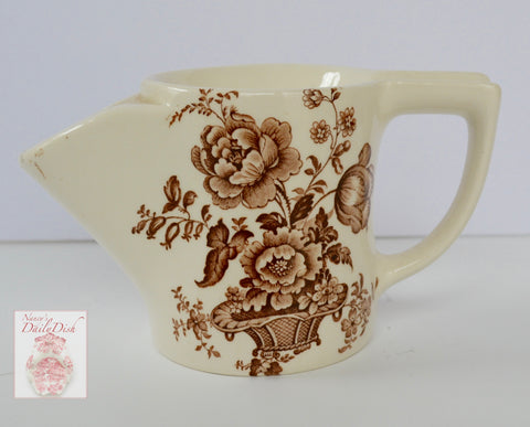 Brown English Transferware Ironstone Shaving Mug Pitcher Charlotte Floral Toile Roses