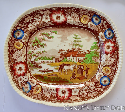 poly Brown English Transferware Platter - Royal Cauldon - Circa 1930 - Native - Bucolic Horses