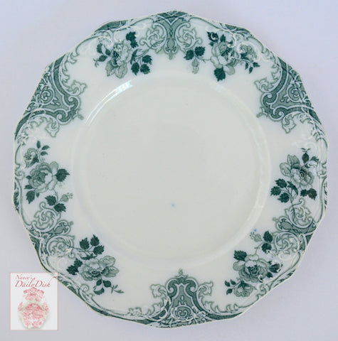 14 sided Teal Transferware Salad Plate Roses Scrolls & Gold Trim  Circa 1900