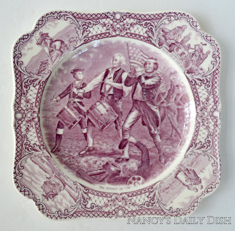 Circa 1930 Purple Square Transferware Plate The Spirit of '76 Colonial Times Historical Staffordshire