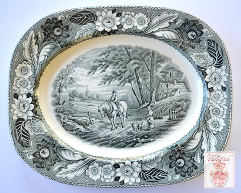 Vintage Black Transferware Platter Woods Woodland Pastoral Horse & Plough Dog Farmhouse