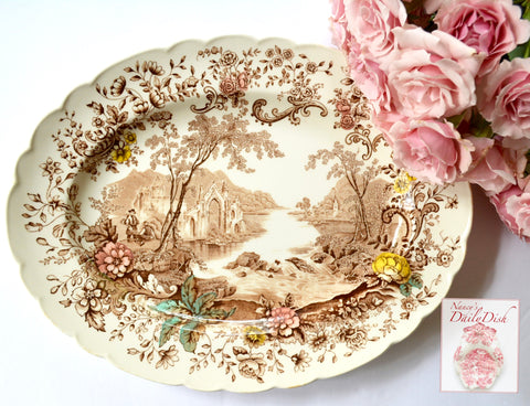 Peaceful Summer Clarice Cliff Brown English Victorian Transferware Serving Platter Cascading Waterfall