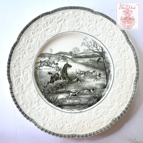 "Black Transferware Charger Plate English Hunting Scene ""In Full Cry"" Embossed Border"