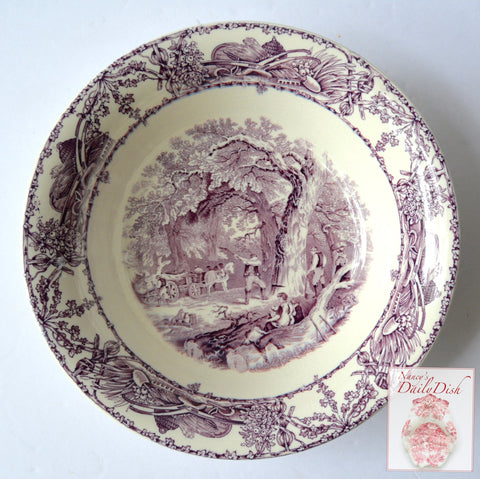 Rural Scenes Purple Transferware Serving Bowl Mother Children Dog Woodcutter English Transferware