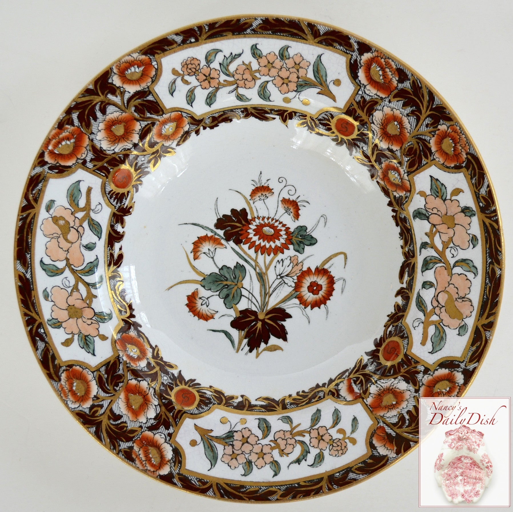 Antique Imari Floral Polychrome Clobbered Transferware Plate Flowers Hand Painted Ridgways & Antique Imari Floral Polychrome Clobbered Transferware Plate Flowers H