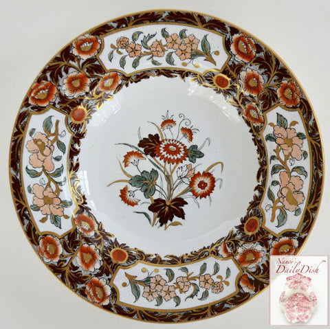 Antique Imari Floral Polychrome Clobbered Transferware Plate Flowers Hand Painted Ridgways