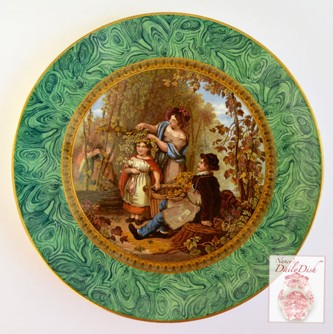 RARE 1851 F R Pratt Transfer Ware Hops Queen Plate Malachite Green Marble Border