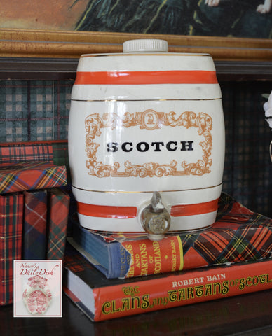 Small Vintage Scotch English Advertising Decanter / Liquor Bottle for Lamp / Decor sm