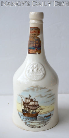 Spode Copeland Historical Staffordshire Decanter Bottle Brown Transferware Plymouth The Mayflower Pilgrims