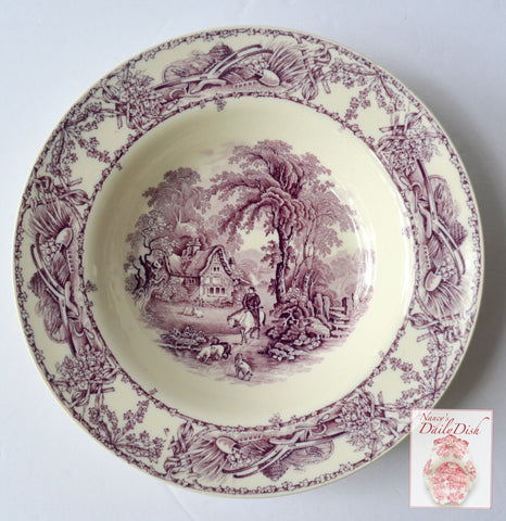 "Lg 9"" Rim Soup Purple Transferware Salad Bowl Rural Scenes Dogs Horse Cottage"