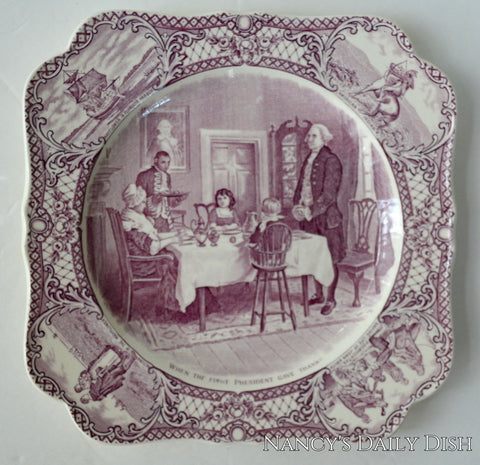 When The First President Gave Thanks Purple Transferware Square Plate Crown Ducal Colonial Times George Washington Thanksgiving