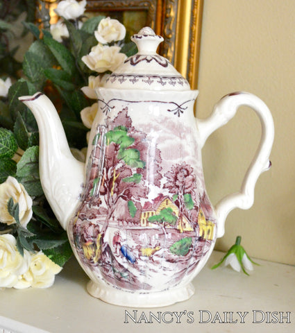 Purple Transferware Chocolate Pot / Teapot for Two New England Farmhouse Cow Scenes Hand Painted Booths
