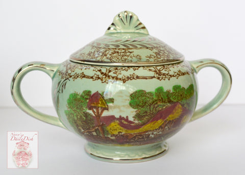 Rare Silver Overlay Pastoral Davenport Rural Scenes Poly Brown Transferware Sugar Bowl Tea Caddy