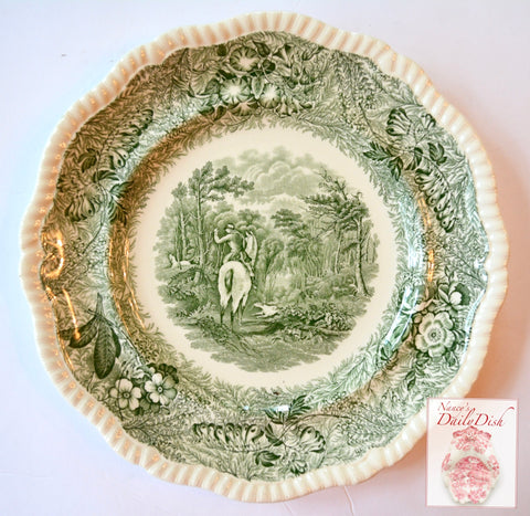 RARE Green Transferware Plate English Hunt Scene Spode Copeland Field Sports Botanical Border