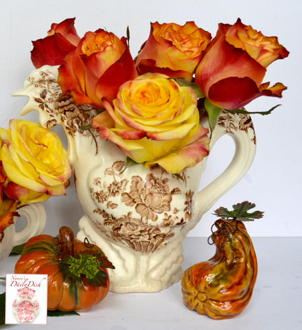 Vintage English Transferware Staffordshire China Rooster Pitcher Charlotte Basket Roses Brown Transferware Figural Pitcher