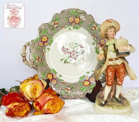 Antique French Victorian Figurine Boy w/ Bird & Holding Birdcage Hand Painted