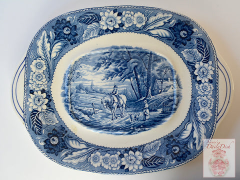 "Lg 14"" Vintage Blue Transferware Tab Handled Platter Woods Woodland Pastoral Horse & Plough Dog Farmhouse"