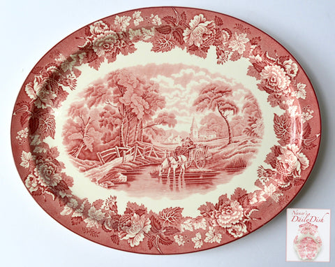 "HUGE 18.5"" Vintage Red Transferware English Ironstone Platter Woods English Scenery Turkey Thanksgiving Horse & Cart Farmhouse - Roses"