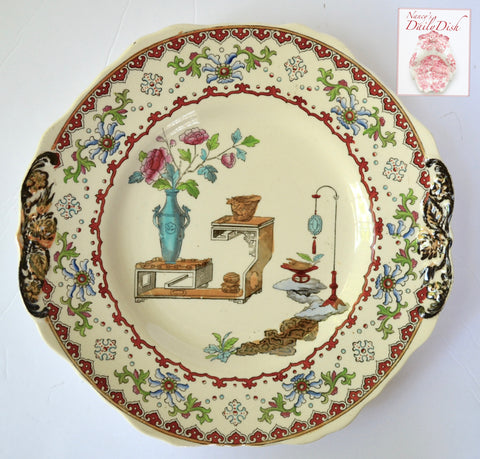 Antique Spode Tab Handled Chinoiserie Platter Clobbered Aesthetic Brown Transferware