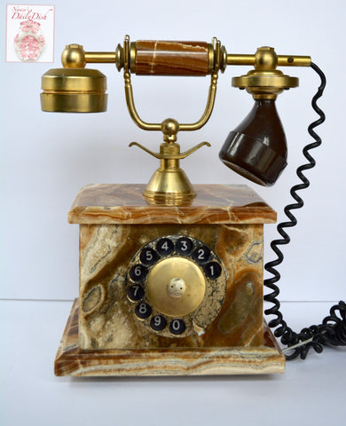 BEAUTIFUL Vintage Solid Italian Marble Rotary Telephone Gold Plated