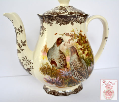Vintage Brown Transferware  Woodland Tea Pot Teapot Aubergine Quail Ducks & Roses Game Series  Birds