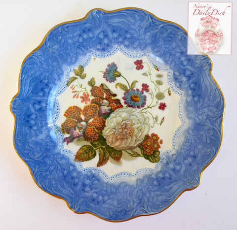 Antique Blue Transferware Pratt Ware Plate Country French Botanical Floral Bouquet Peonies Cornflower Phlox Hand Painted