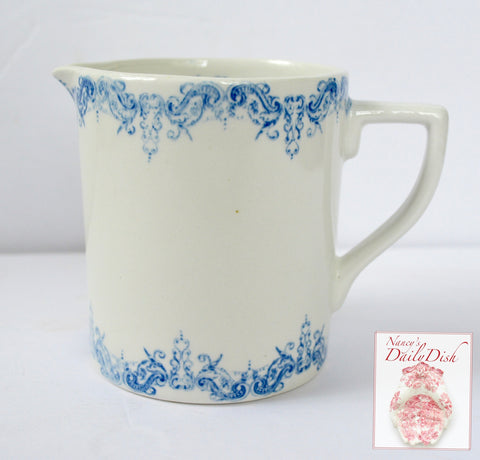 Vintage Victorian English Blue Transferware 14 oz Measuring Pitcher Garland Scroll